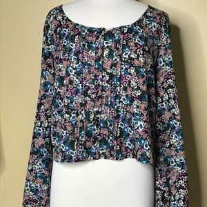 Mudd Long Sleeve Multi Color Floral Print Top